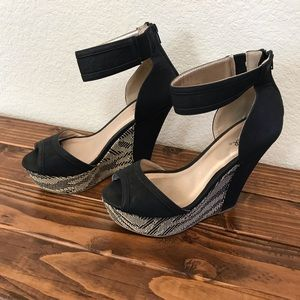 Size 9 Qupid Ankle Strap Wedges
